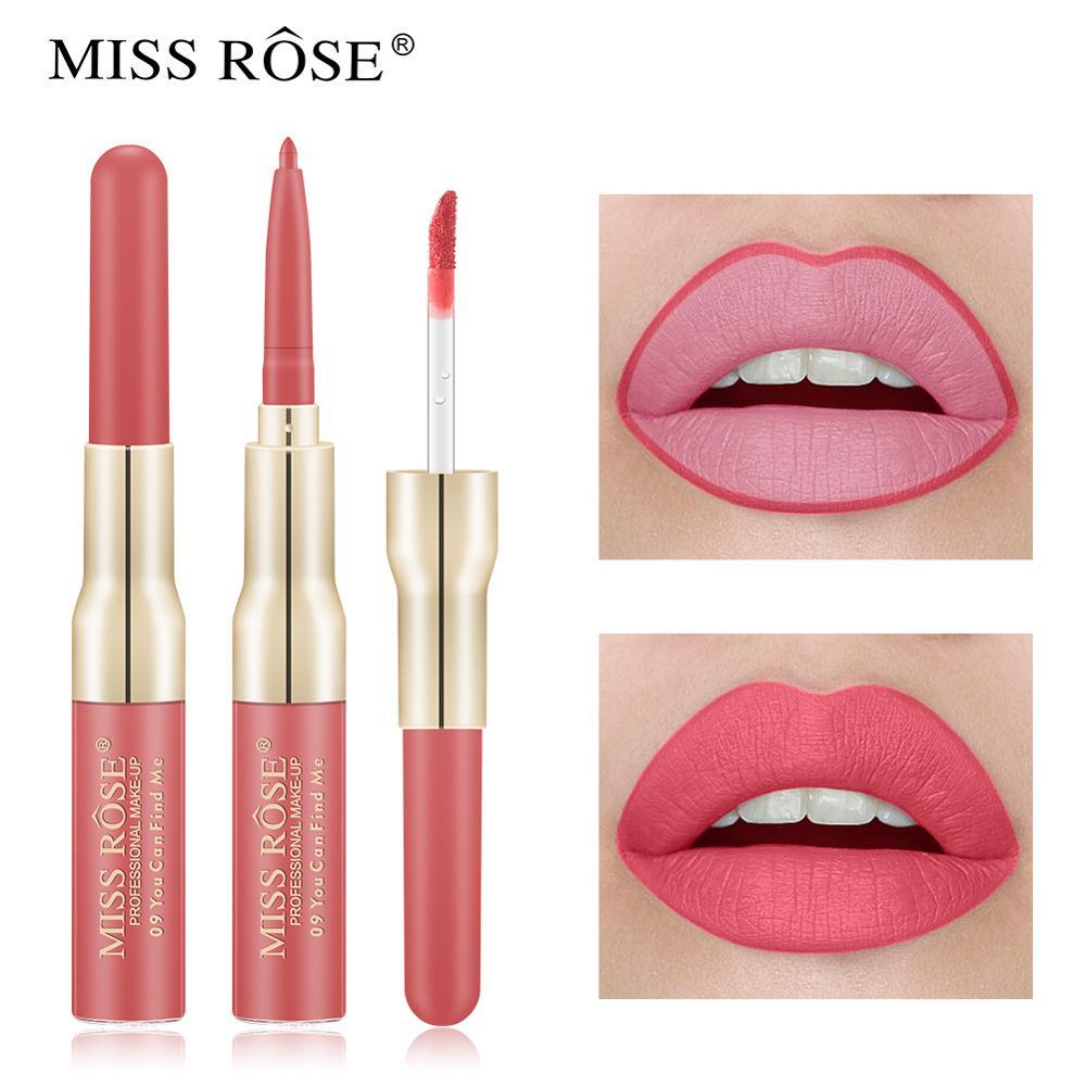 Двухсторонняя косметика для губ помада-карандаш, жидкая водостойкая стойкая тинт-карандаш, привлекательная нюдовая помада для красных губ,...