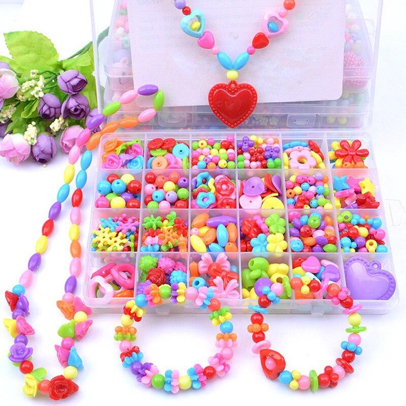 500-580pcs Creative Crafts For Kids Bead Set Girl Gift DIY Handmade Wearing Necklace Earring Bracelet Ring Toys For Children