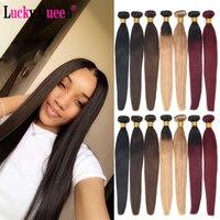 Lucky queen бразильские пучки прямых и волнистых волос не Реми человеческие волосы Цвет 1B/2/4/27/99J/бордовый Омбре пряди волос 8-30 дюймов