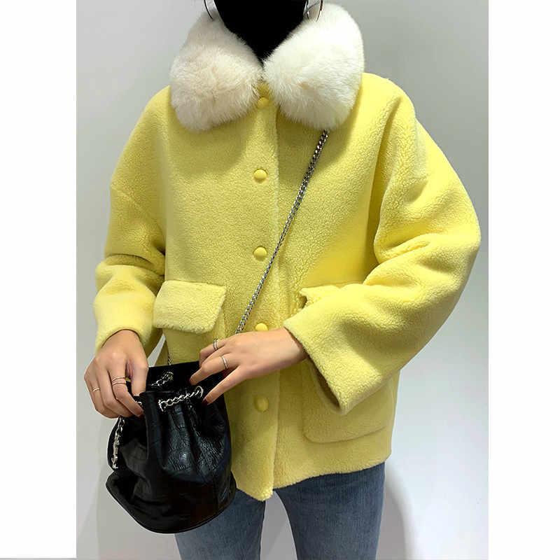 Echte Bontjas Vrouwelijke Vos Bontkraag Wollen Jas Herfst Winter Jas Vrouwen Kleding 2020 Koreaanse Vintage Schapen Shearling Tops ZT4295
