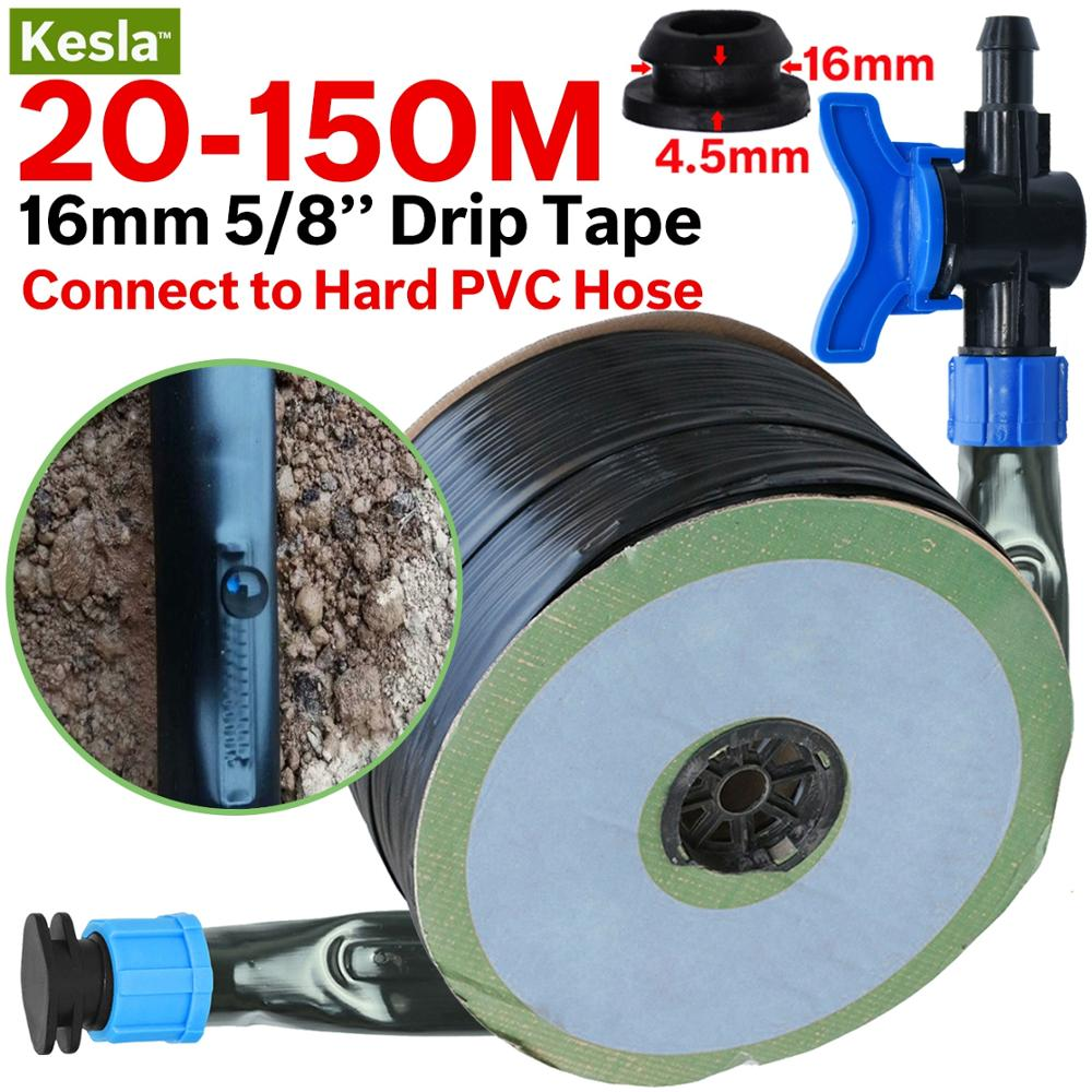 KESLA 16mm 0.2mm Thick Drip Irrigation Tape 5/8'' 20cm Emitter Dropper Spacing Greenhouse Garden Connected To Hard PVC Hose Pipe