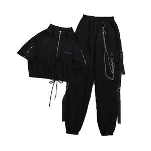 Pant-Chain Buckle Ribbon-Pocket Jogger Elastic-Waist Harajuku Females High-Streetwear