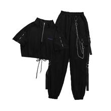 Damskie spodnie Cargo klamra wstążka kieszeń Jogger w pasie moda uliczna Harajuku Pant Chain suki dwuczęściowa piżama spodnie i góra tanie tanio HWLZLTZHT COTTON SILK Kostki długości spodnie PA378 Stałe Na co dzień Cargo pants Mieszkanie Luźne Osób w wieku 18-35 lat