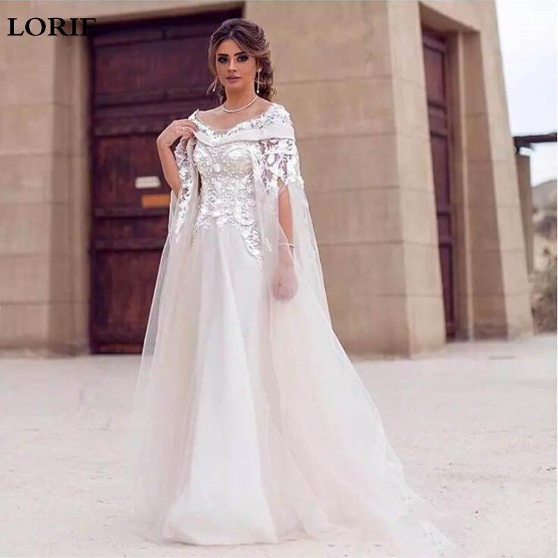LORIE Lace Wedding Dresses A Line 3D Flower Appliques Arabic Bridal Gowns Dubai Sweep Train A Line Beaded Wedding Gowns