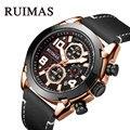 RUIMAS часы мужские спортивные роскошные кожаные Брендовые Часы водонепроницаемые кварцевые мужские военные наручные часы мужские Relogio Masculino