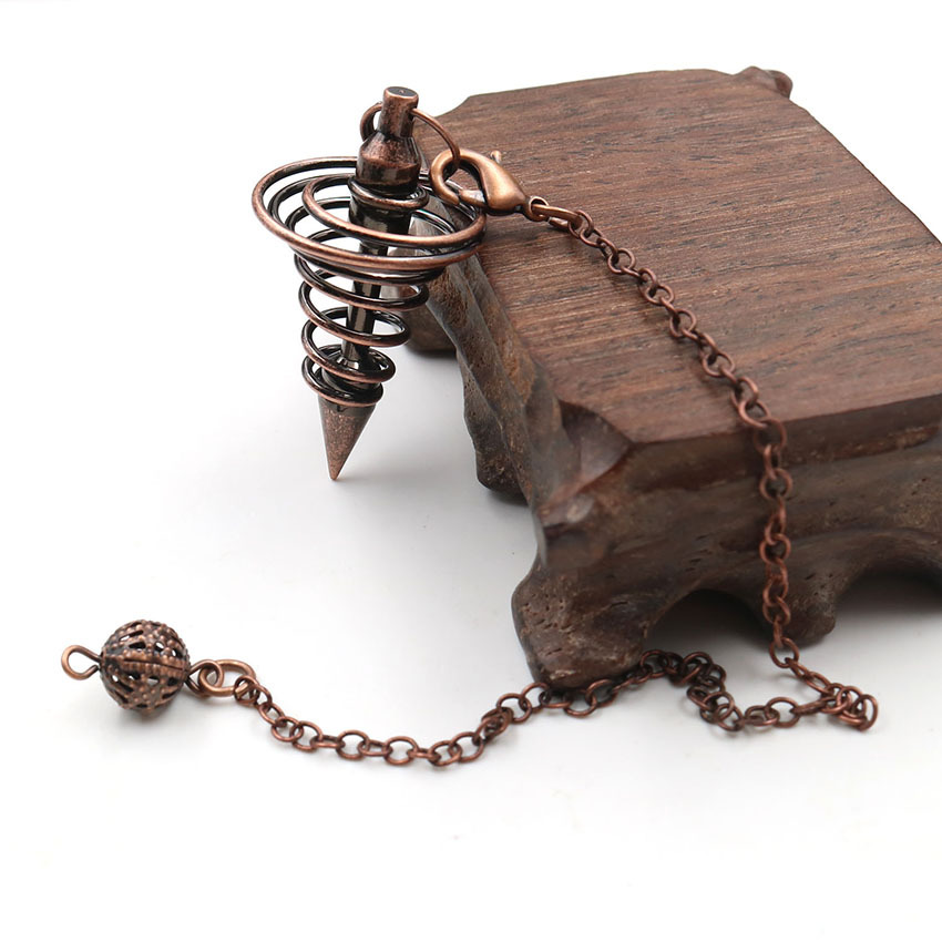 Metal Pendulums for Dowsing Divination Reiki Healing Spiritual Wicca Women Men Amulet Screw Shape Pendule Chains Charm Jewelry 1