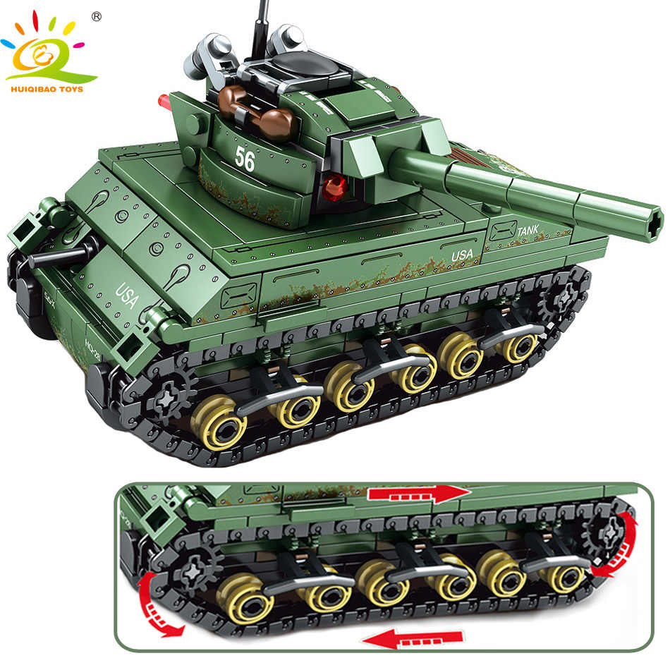 HUIQIBAO Toys 437pcs Military USA M4 Tank Building Blocks Compatible legoingly For Boys Army WW2 vehicle soldiers weapons bricks