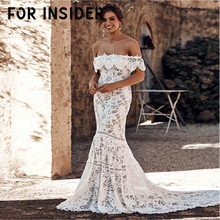 For Insider Floral print slash neck white maxi dress Elegant women party lace long Autumn winter formal mujer festa