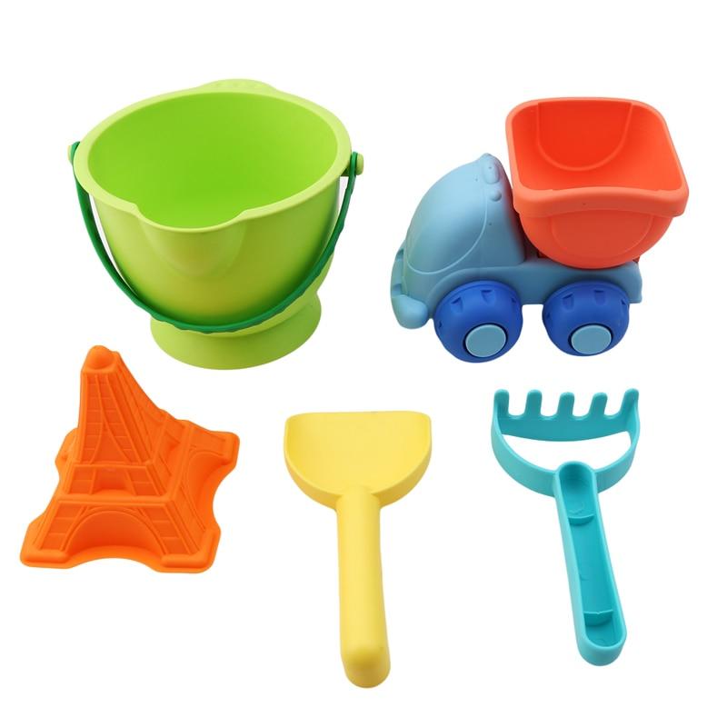 Baby Soft Beach Toys Set Classic Plastic Play Sand Buckets Rakes Shovels Trucks Car Children Garden Summer Seaside Toy For Kids