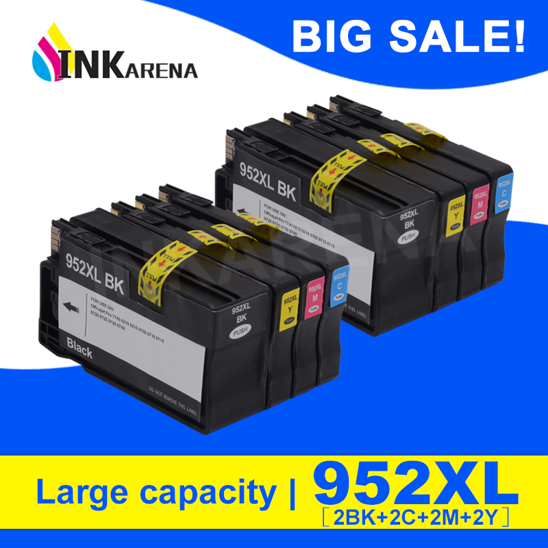 4 Color Full Ink For HP <font><b>952XL</b></font> Ink Cartridge For HP 952 XL Officejet Pro 7740 8210 8218 8710 8715 8720 8725 8728 8730 8740 8Pcs image