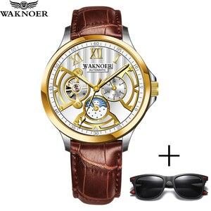 Image 5 - WAKNOER Top marka luksusowy męski zegarek mechaniczny mężczyźni Luminous wodoodporny automatyczny zegarek moda Tourbillon szkieletowy zegarek zegar