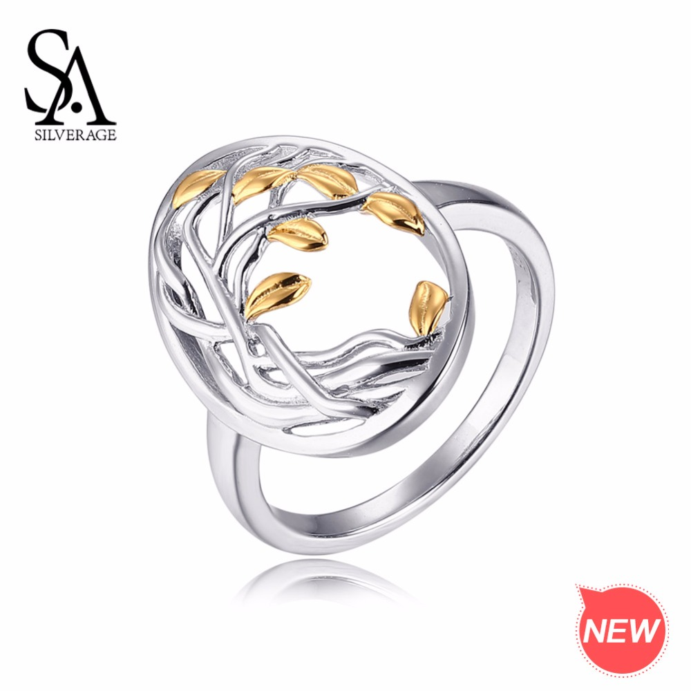 Image 5 - SA SILVERAGE Authentic 925 Sterling Silver Life Tree Shape Engagemant Wedding Ring 925 Silver Gold Color Plated Rings for WomanRings   -