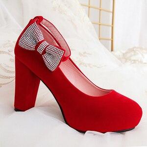 Image 5 - Rimocy女性のプラスサイズ 45 クリスタルボウタイパンプススーパーハイスクエアハイヒールアンクルストラップパーティー結婚式の靴女性フロック靴 2019