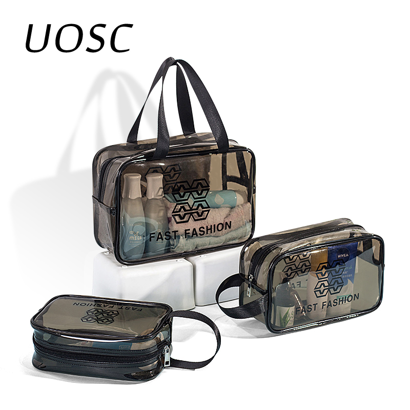 UOSC Transparent PVC Bags Travel Organizer Clear Makeup Bag Beautician Cosmetic Bag Beauty Case Toiletry Make Up Pouch Wash Bags