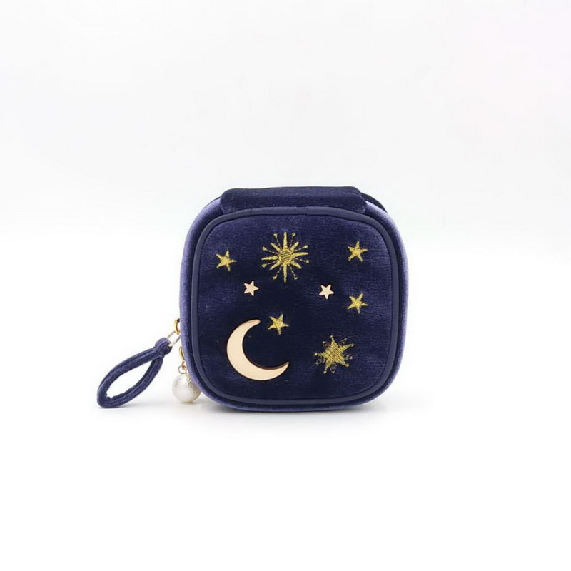 Japanese Cute Star Makeup Bag Velvet Embroidery Cosmetic Cases Organizer Women Zipper Storage Bag With Moon Star Tassel Deco
