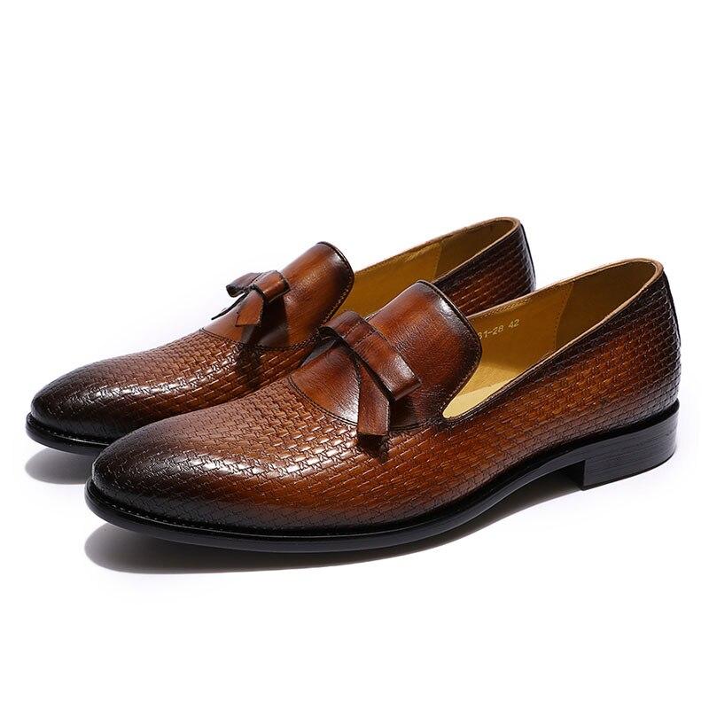 FELIX CHU/модные мужские свадебные лоферы из натуральной кожи с бантом; цвет коричневый, черный; комфортные классические туфли; мужская повседн... - 2
