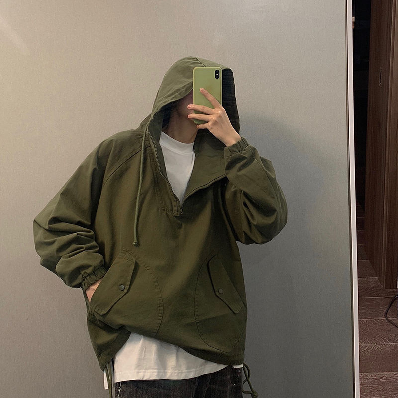Autumn Japanese handsome army green overalls men and women hooded half zipper pullover jacket couple trend