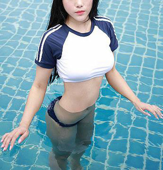 Japanese Cosplay School students swimsuit three point dew chest sexy bikini Two Piece uniform Swimwear bathing suit - sale item Swimwears
