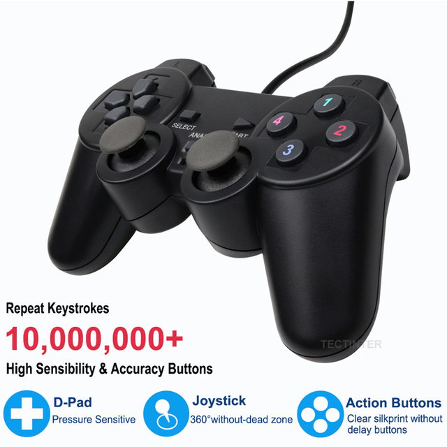 Wired USB Controller Gamepad For WinXP/Win7/Win8/Win10 For PC Computer Laptop Black Game Joystick 5
