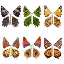 1Pc Magie Tricks Fliegen Schmetterling Gummiband Wind Up Schmetterling Spielzeug Fliegen in die Buch Überraschung Geburtstag Geschenke Kinder magie Prop
