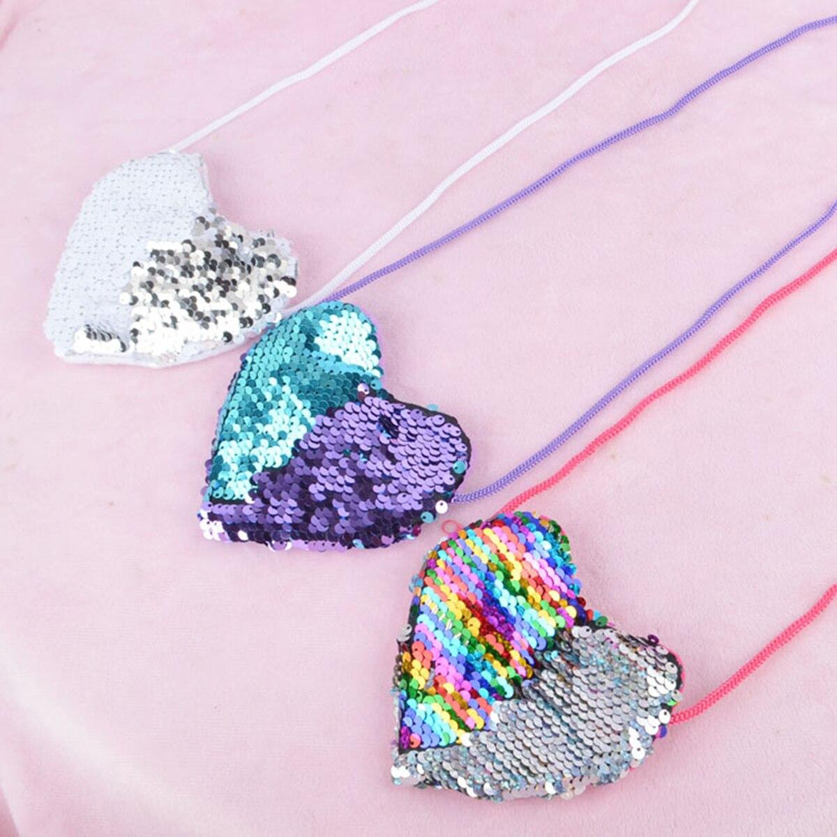 2019 Girl Sequins Small Shoulder Coin Bag Mini Children Coin Money Card Key Holder Wallet Purse Pouch Handbags Kids Gifts