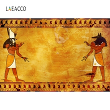 Laeacco Ancient Egyptian Fresco Photography Backdrops Golden Wall Photo Backgrounds Retro Baby Portrait Photophone Photozone