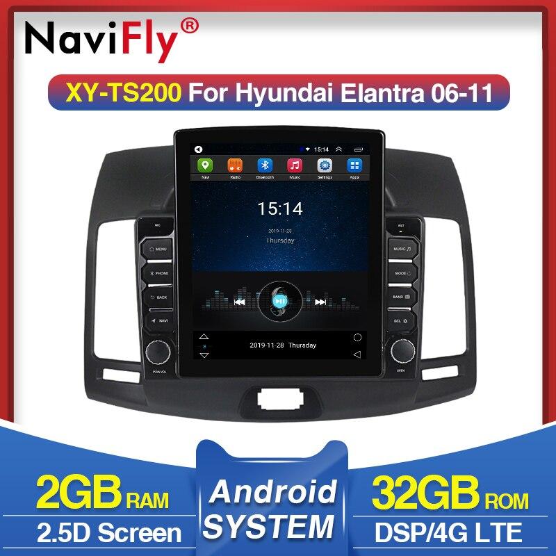 Navegação dos multimédios do carro da tela de tesla de 4g lte para o jogador estereofônico do rádio do carro de hyundai elantra 2006-2011 android