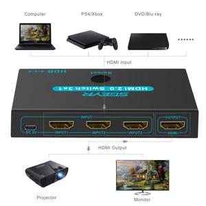 Image 2 - SGEYR HDMI 2.0 commutateur 3x1 4K @ 60Hz 3 ports HDMI commutateur 3 en 1 avec télécommande IR HDMI 2.0 HDCP 2.2 pour XBOX PS3/4 HDTV