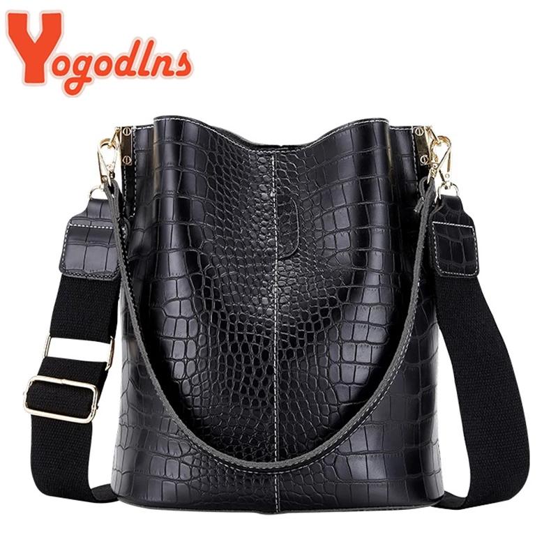 Yogodlns Alligator Pattern Bucket Bag For Women Vintage Shoulder Bag Big Capacity Crossbody Bag Elegant Shopping Handbag Purse