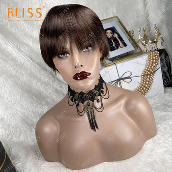 BLISS Short Bob Human Hair Wigs For Women Straight Blunt Cut Wig With Bangs Brazilian Cheap