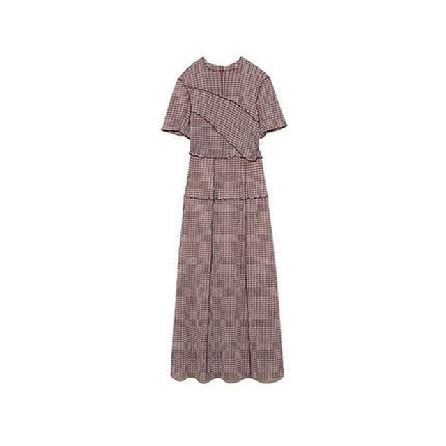 Kuzuwata Chic Wooden Ear Patchwork Pleated Women Dress 2021 Spring Summer Drawstring Vestidos New High Waist Plaid Dresses 4