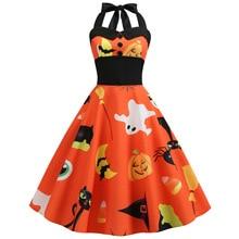 Women Ladies Vintage Pumpkin Halloween Party Prom Costume Swing Dress Fast Shipment Spaghetti Strap Ball Gown