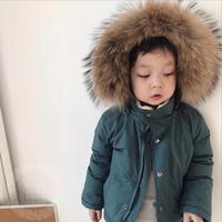 Wholesale 2019 New winter down jackets for baby girl and boys green coat kids big real fur outerwear children clothes ws1244