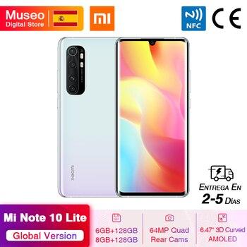 Перейти на Алиэкспресс и купить Глобальная версия мобильных телефонов Xiaomi Mi Note 10 Lite 6 ГБ/8 ГБ 128 ГБ 64-мегапиксельная четырехъядерная камера 6,47 дюйма изогнутый AMOLED экран 5260 мА...