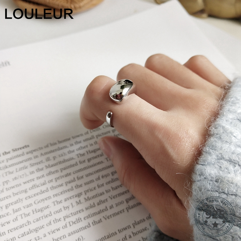 LouLeur 925 Sterling Silver Big Water Drop Glossy Rings Silver Elegant Personality Open Rings For Women Fine Jewelry For Charm