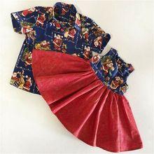 Коллекция года, Рождественская эксклюзивная одежда для сестры и брата комплект одежды с принтом Санта-Клауса, рубашка с лацканами для мальчиков платье с цветочным рисунком для девочек детское рождественское платье