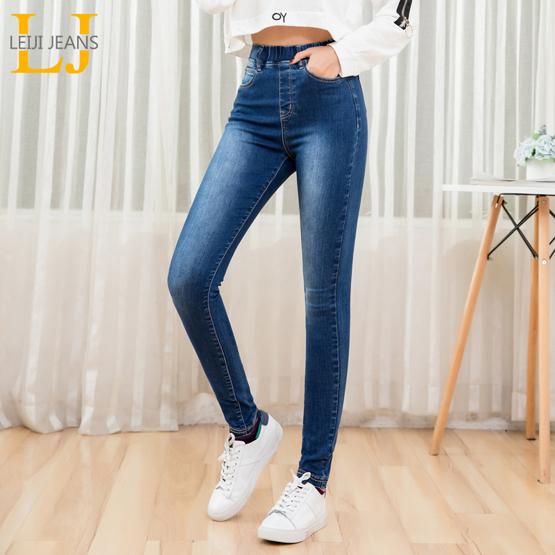 LEIJIJEANS 2019 autumn Elastic waist highly waist washing featured fit leg mujer   jean   ladies 5XL plus size stretchy women   jeans