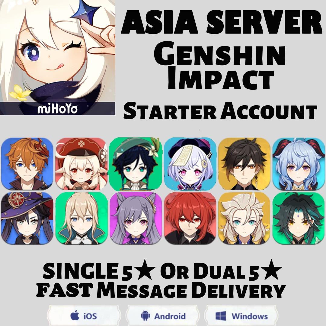 Азия сервер ганью Сяо разбавитель Keqing Venti Klee Childe Zhongli Albedo Genishin Impact Traveler, как вы хотите, учетная запись Genshin Impact