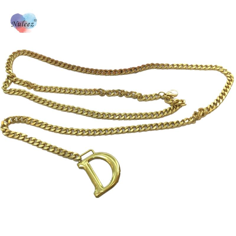 Nuleez Brand D Letter Golden Hardware Waist Chain Decoration Dress Accessory Fashion Graceful Ladies