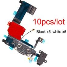 """10 개/몫 USB 충전 포트 도크 커넥터 플렉스 아이폰 5 5s SE 2020 6 6s 7 8 플러스 4.7 """"& 5.5"""" X XR XS MAX 마이크 수리 부품"""