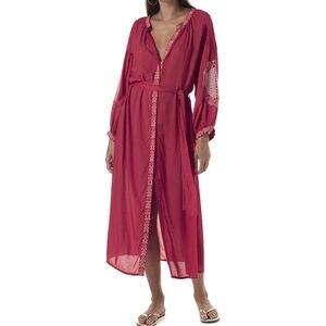Image 2 - 2020 レッドボヘミアン刺繍フロントオープンサマービーチドレス長綿チュニック女性プラスサイズのビーチウェア水着カバーアップQ1010