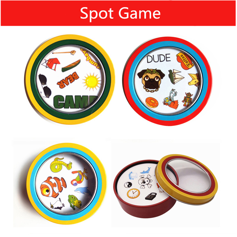 70mm Spot Game Mini Style Classic Education Card Game English Version Home Party Fun Board Games With Metal Box