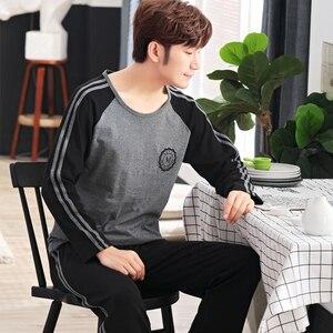 Image 5 - Yidanna cotton pijama set for men Tshirt O neck plus size underwear long sleeved pajama sleepwear clothing winter nightwear male