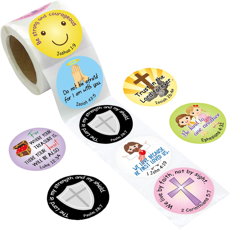 Religious Christian Bible Verse Stickers Kids Reward Cross Christening Communion Scripture Quotes For Church VBS Sealing