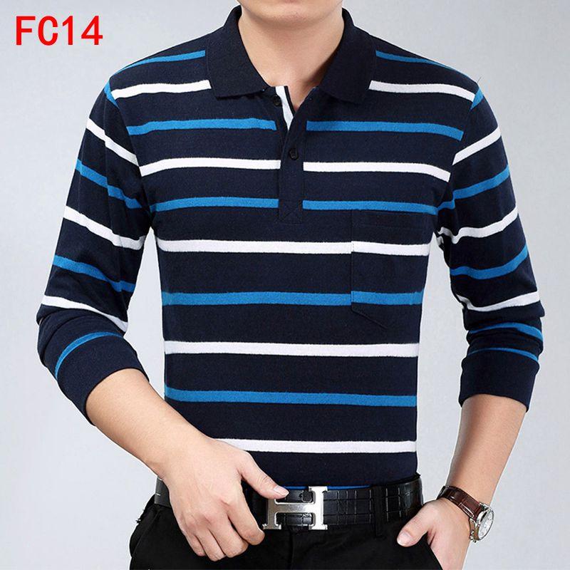 2019 Casual Long Sleeve Business Mens Shirts Male Striped Fashion Brand Polo Shirt Designer Men Tenis Polos Camisa Social
