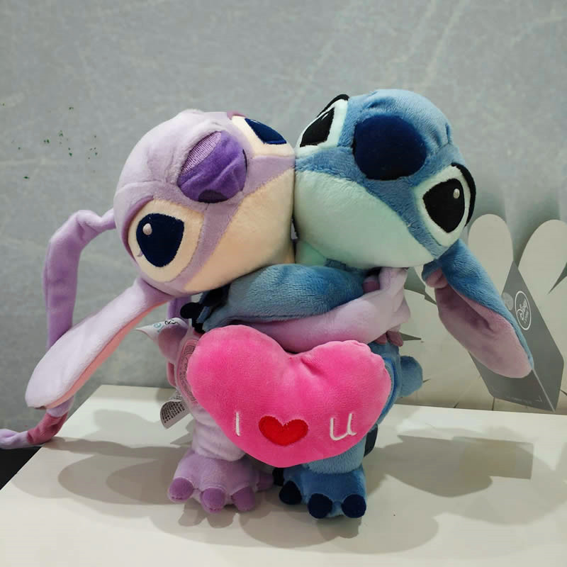 1 Pair 20cm High Lilo & Stitch Couple With Heart Plush Toy Stich Stuffed Soft Doll Anime Baby Child Christmas Birthday Gift