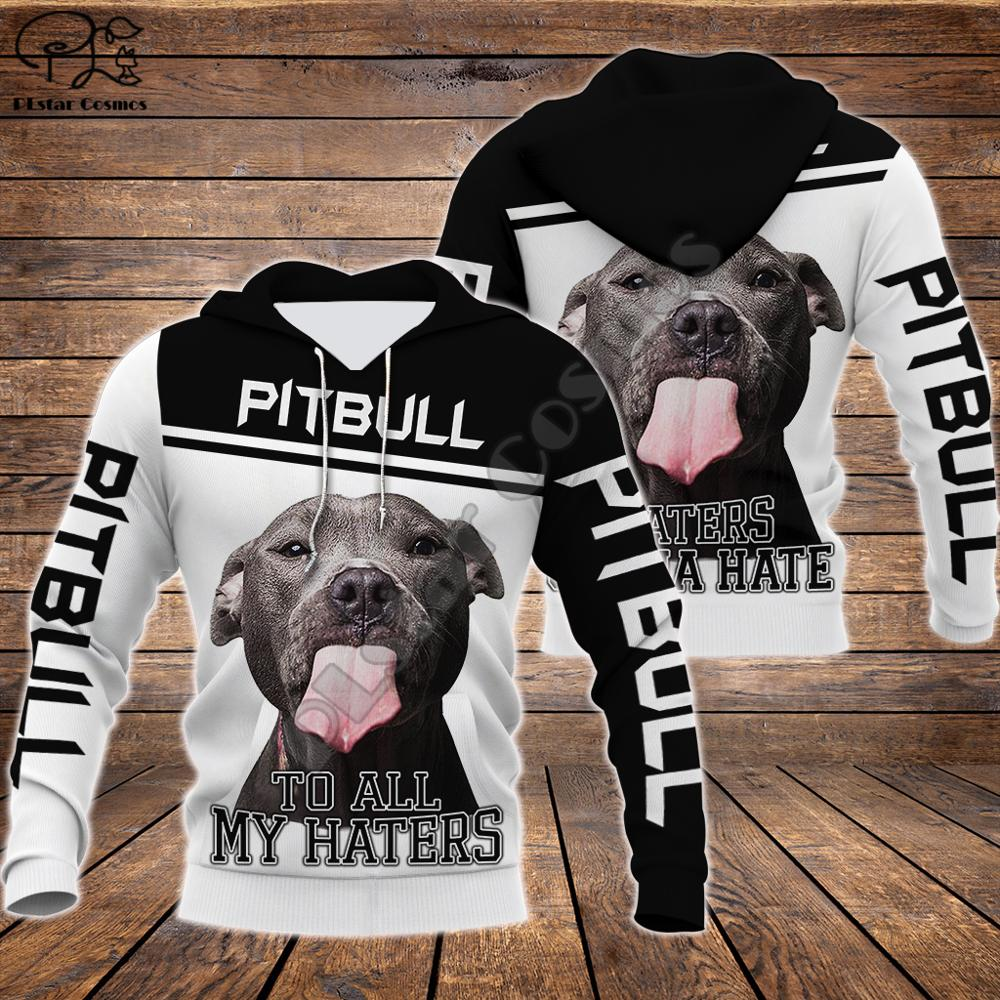 Men Unisex Pitbull To Haters Limited 3d Dog Print Zipped Hoodie Long Sleeve Sweatshirts Jacket Pullover Tracksuit G12