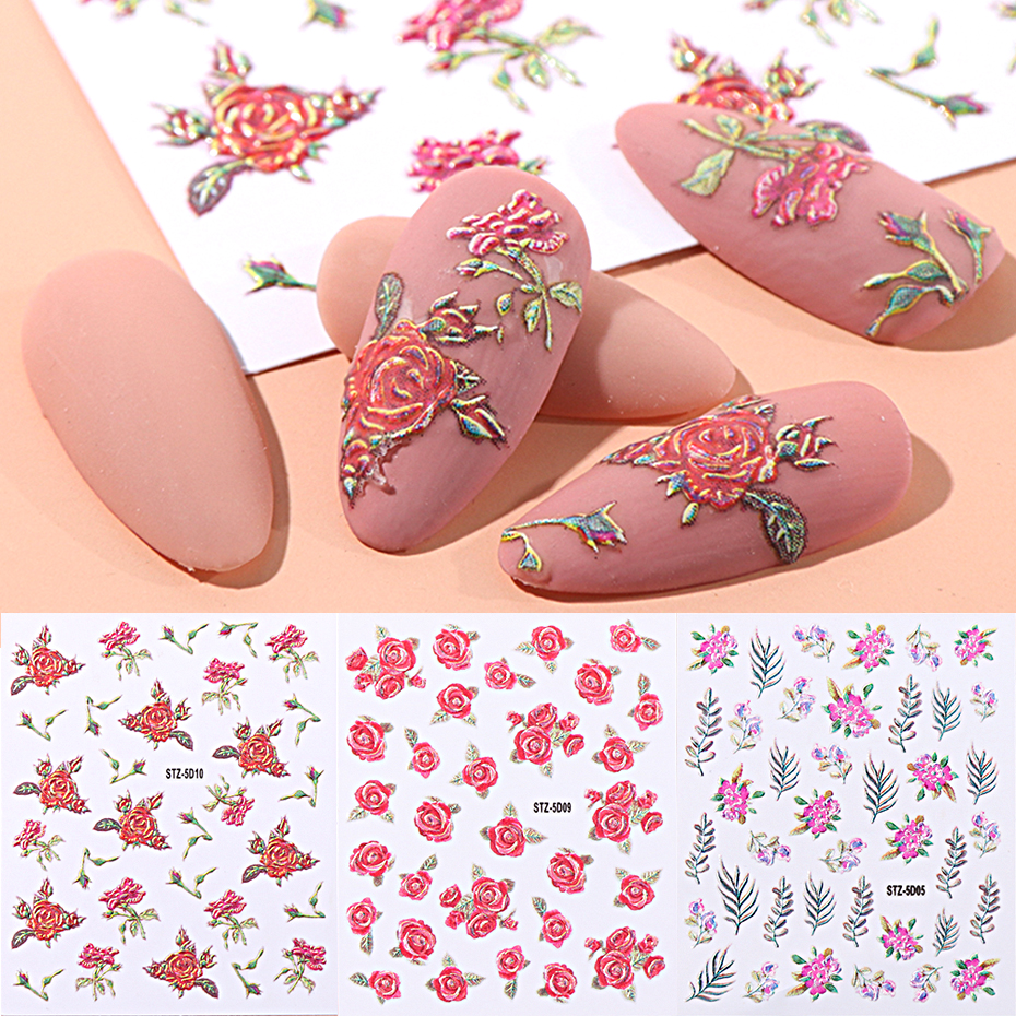 1pcs 5D Nail Sticker Engraved Flower Design Adhesive Foils Decals DIY Manicure Slider 3D Nail Art Decorations Tips LASTZ5D01-18