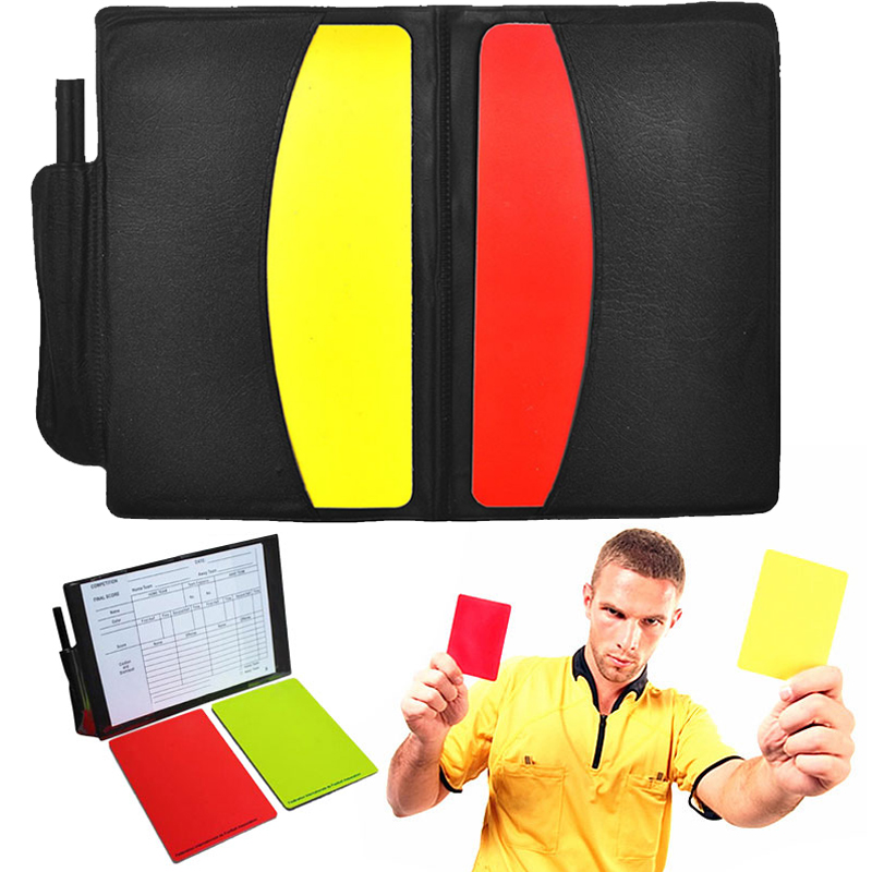 Yellow Red Card Booklet Sport Entertainment Pro With Pencil Judgecase Soccer Game Football Referee Case Equipment