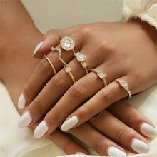 LETAPI 7pcs/set Gold Color Crystal Knuckle Ring Set Bohemian Geometric Flower Female for Woman